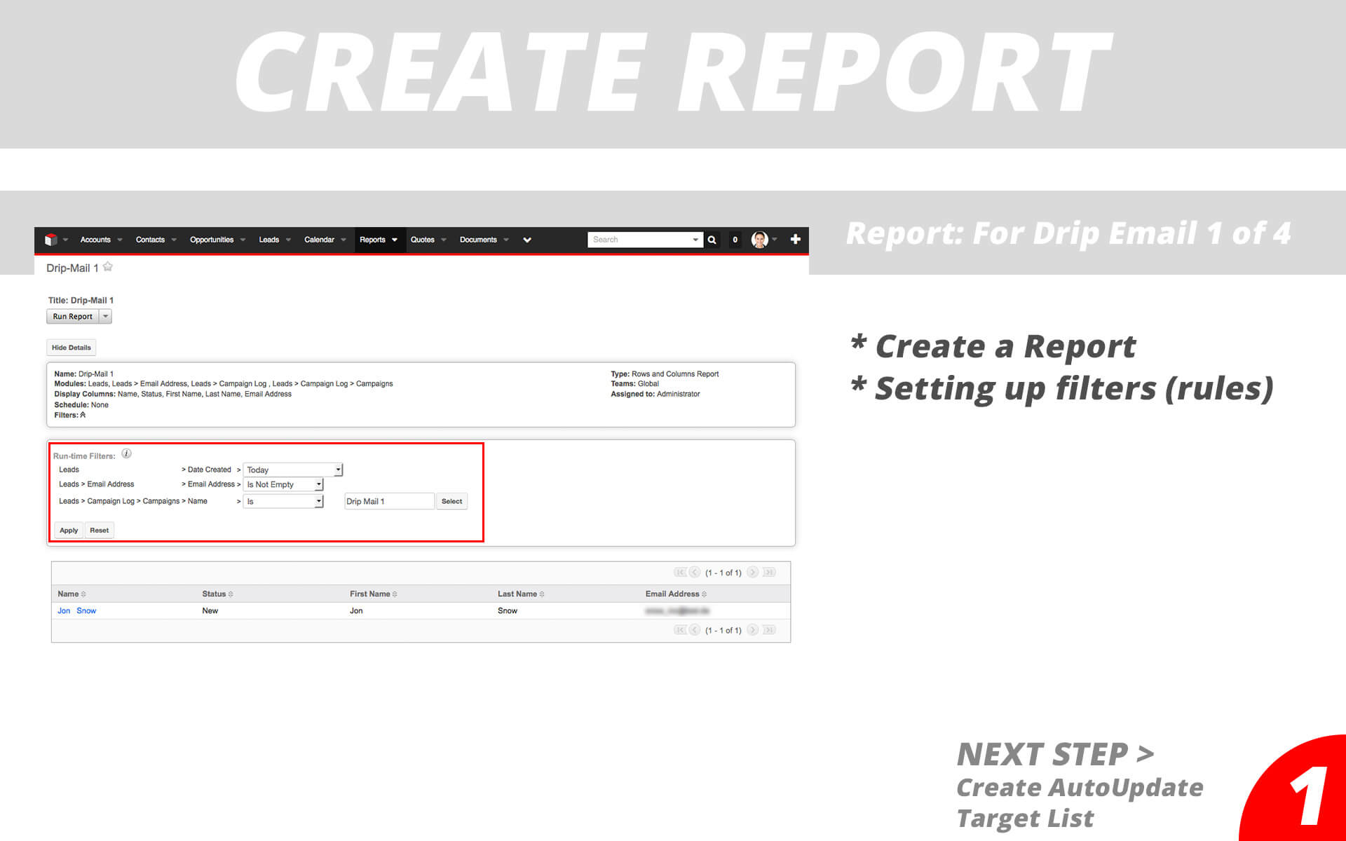 Drip Email Campaigns - Create Report