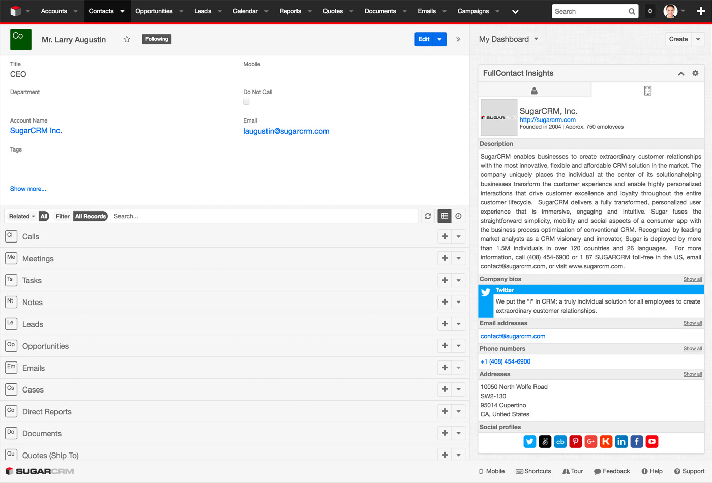 FullContact Insights for SugarCRM - Company View