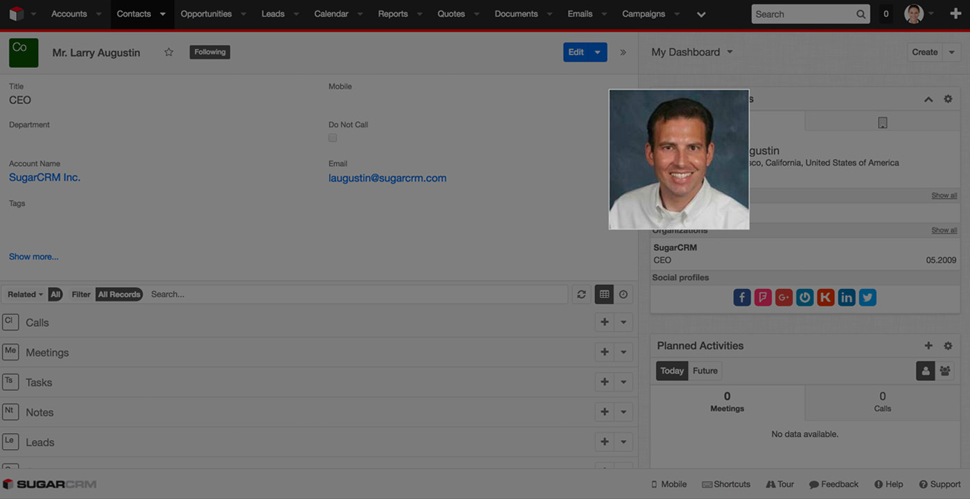 FullContact Insights for SugarCRM - Photozoom