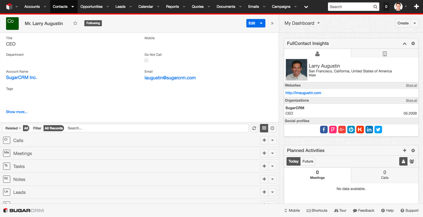 FullContact Insights for SugarCRM