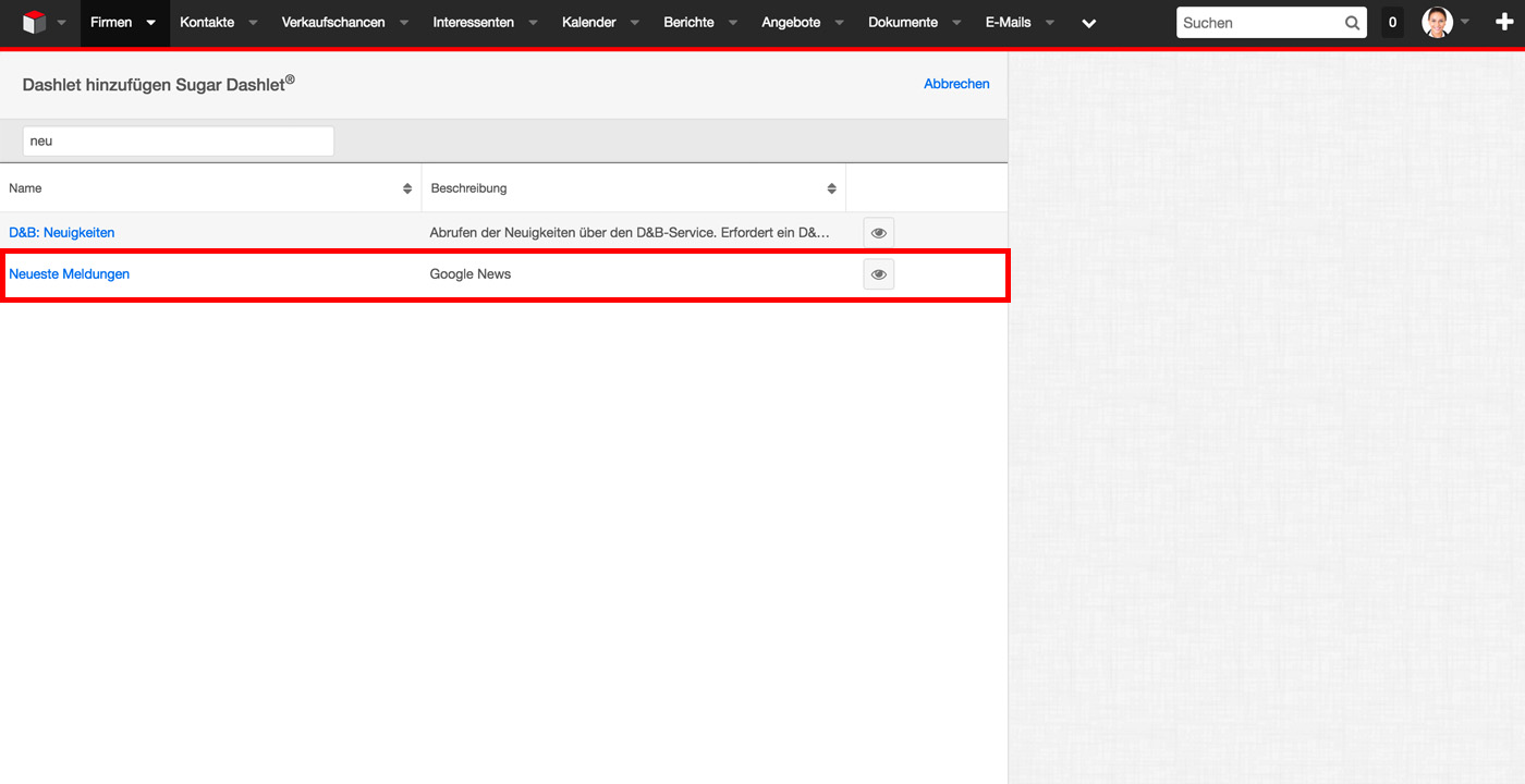 Google News Dashlet for SugarCRM Add Dashlet