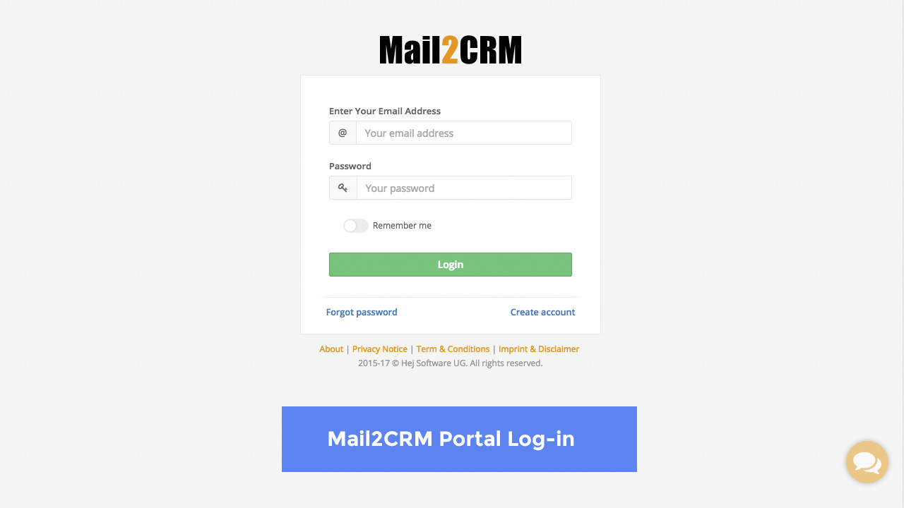 Mail2CRM - Login