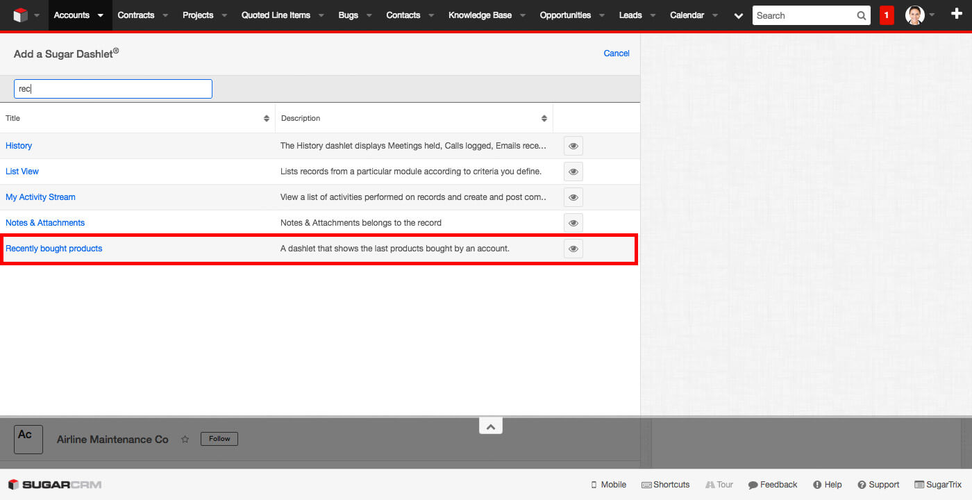 Recently Sold Products - SugarCRM Dashlet