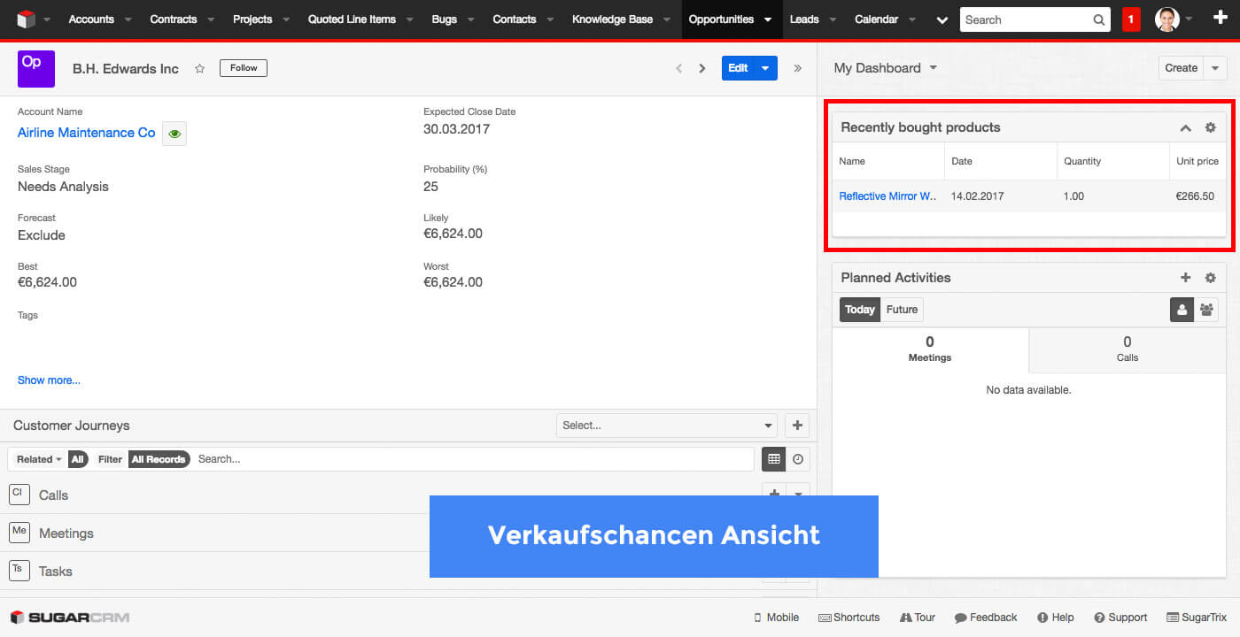 Recently Sold Products - SugarCRM Dashlet - Opportunities