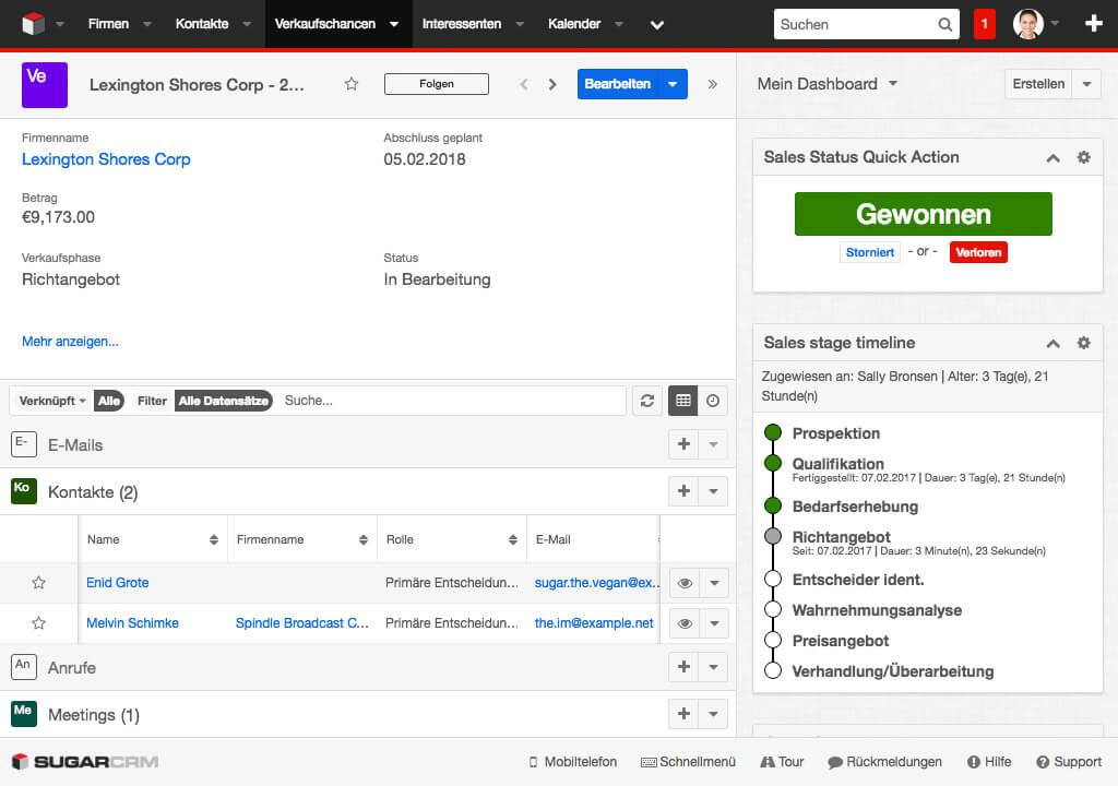 Sales Status Quick Action - Dashlet
