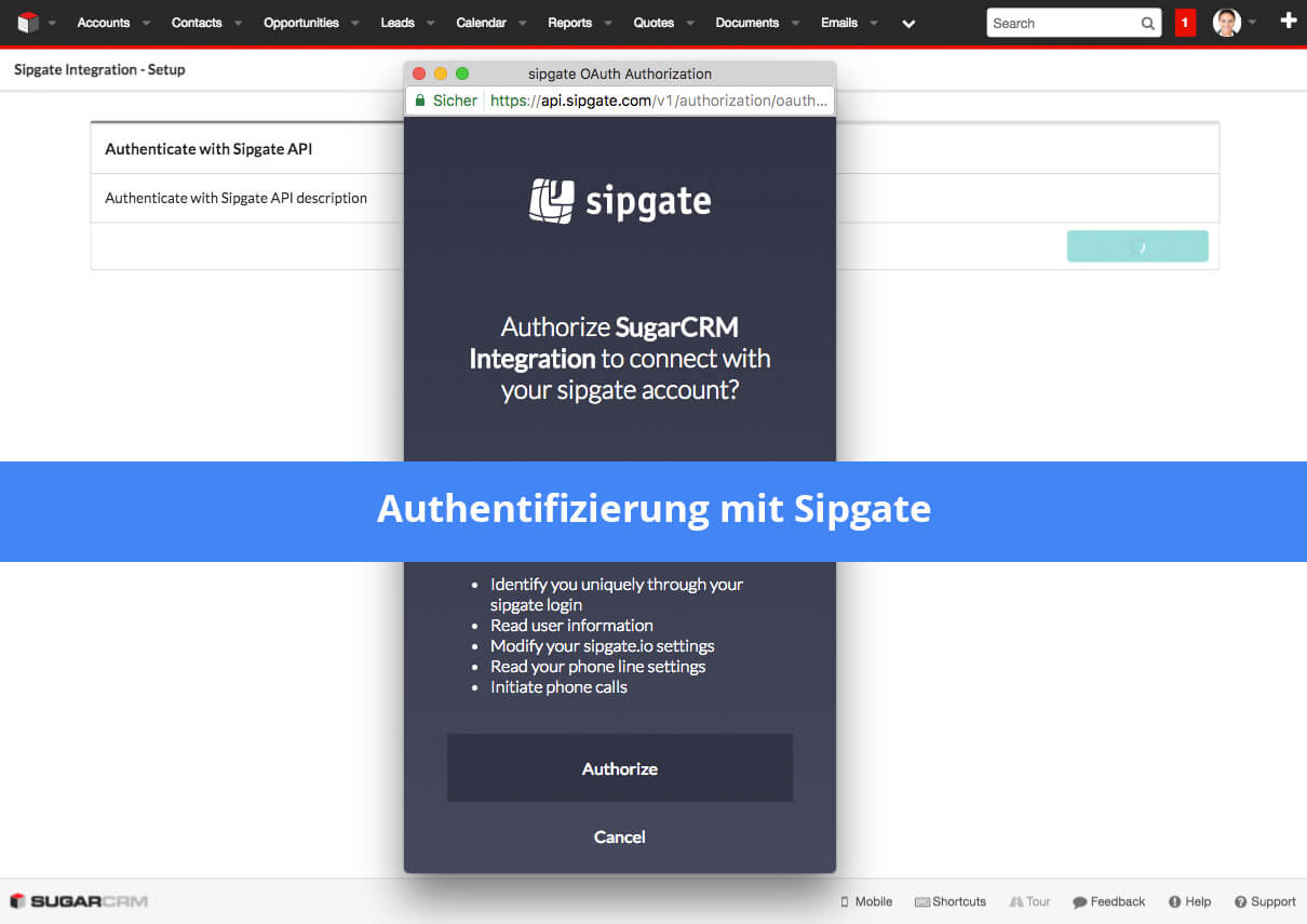 Sipgate to SugarCRM CTI Connector