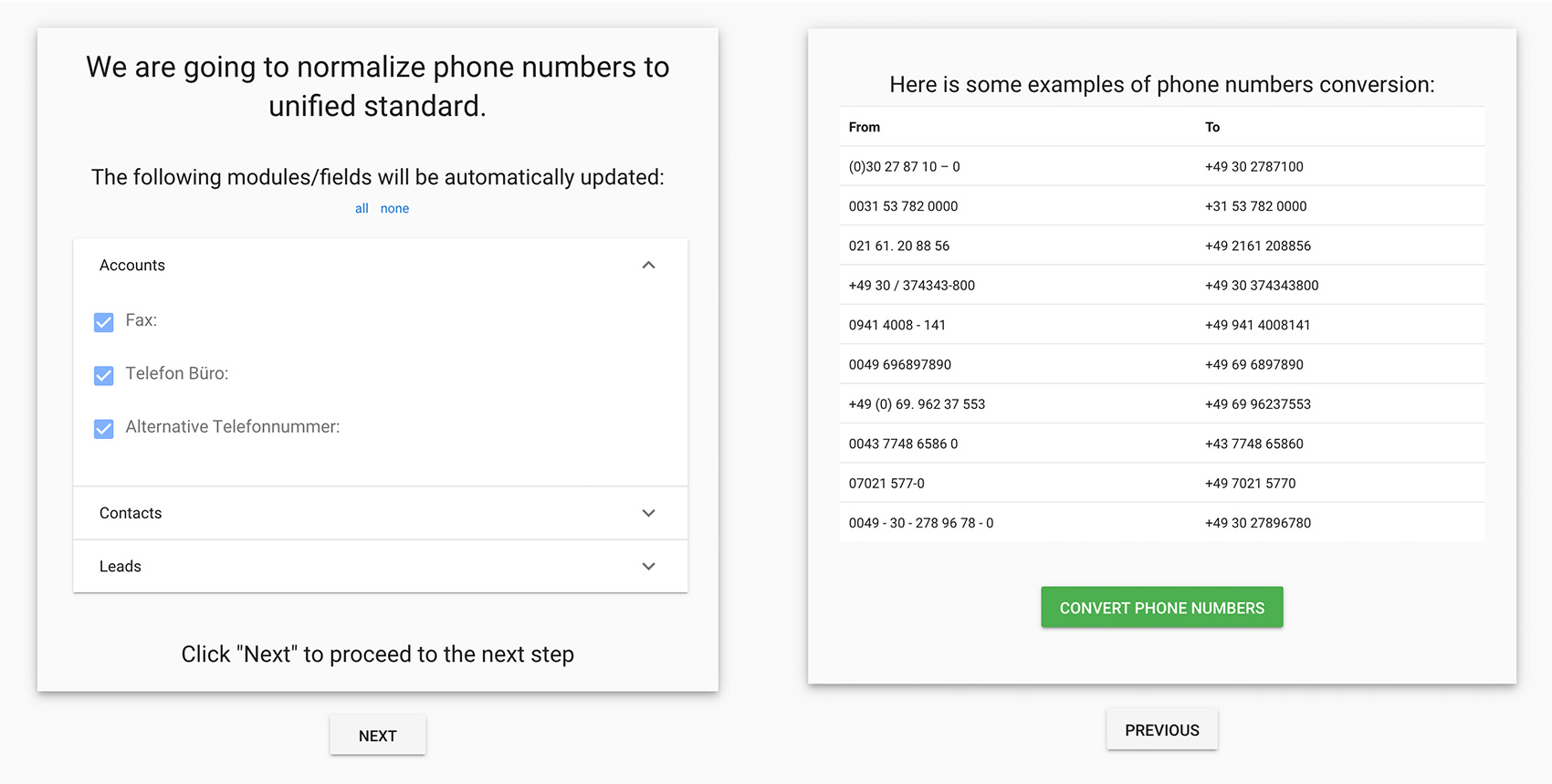 Telefonnummer-Normalisierung